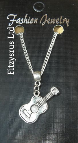 "18"" 24"" Inch Chain Necklace & Guitar Pendant Charm - Musician Gift Souvenir New"